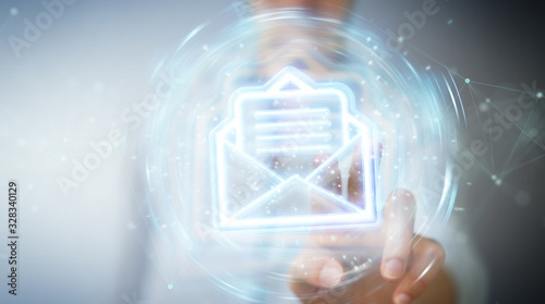 Fotomural Woman using digital email blue holographic interface 3D rendering