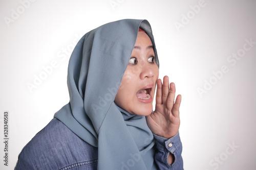 Muslim Lady Whispering Something Canvas Print
