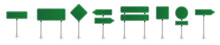 Set Of Green Road Signs. Directional Signs. Realistic Style. Vector Graphics.