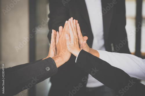 Teamwork business people join hand together in the meeting. Wallpaper Mural