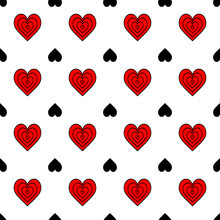 Seamless Pattern Of Red, Black Hearts On A White Background. Abstract Illustration. Creative Concept Design Background For Greeting Cards, For Print Packaging, Wallpaper, Textile Or For Casino Design.