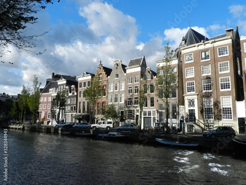 Amsterdam, The Netherlands, Canalscape with Houses Canvas Print