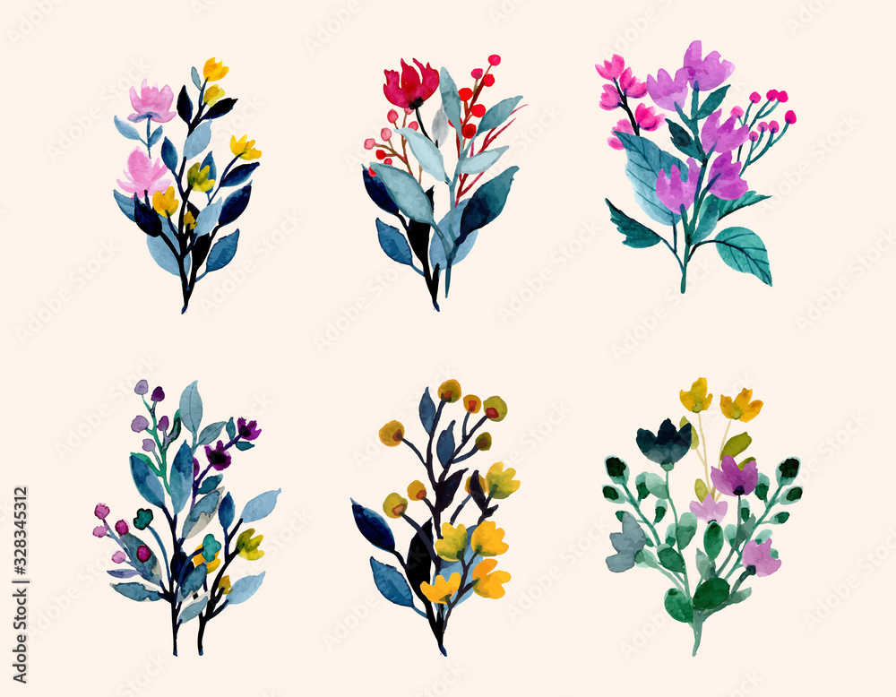 Fototapeta colorful wild floral watercolor bouquet collection