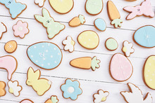Easter Greeting Card With Gingerbread Cookies. Easter Spring Decorative Composition With Homemade Easter Cookies In Shape Of Funny Rabbit And Eggs