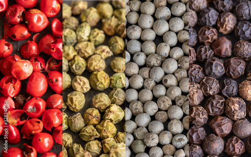 Collage of different type pepper, Black ,white, pink  and allspice peppercorns Wallpaper Mural