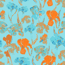 Irises Flowers. Vector Illustration, Seamless Pattern Based On The Oil Painting Of Van Gogh.