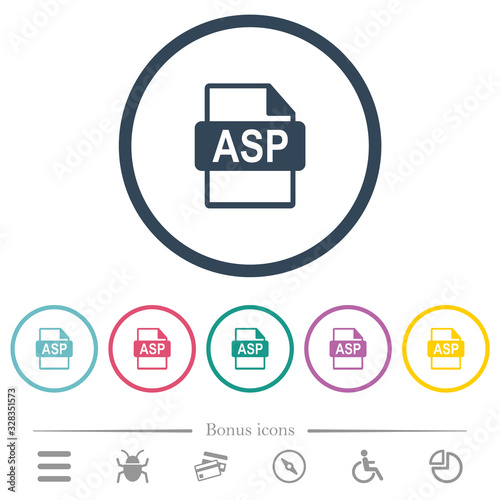 Photo ASP file format flat color icons in round outlines