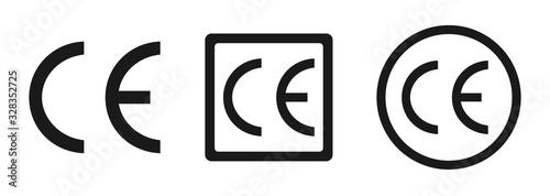 Photo CE mark, CE symbol icon. Certification mark