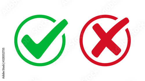 Photo Set check mark and cross. Vector illustartion
