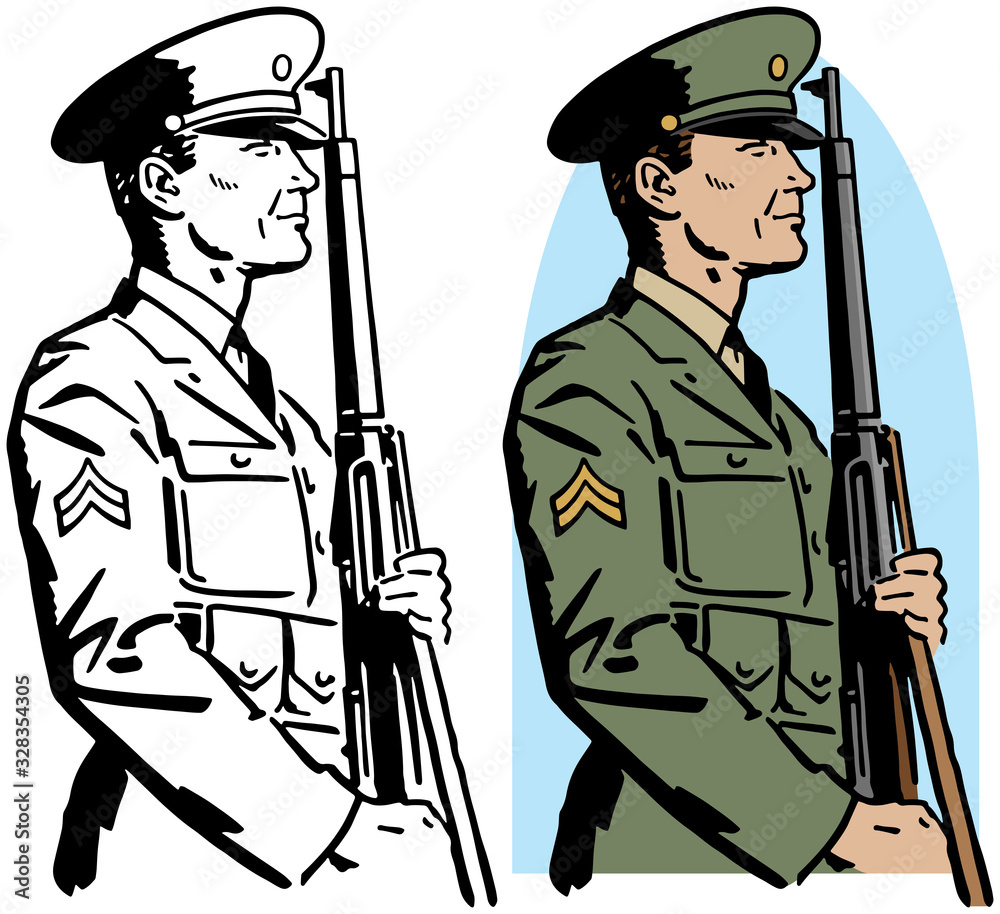 Fototapeta A drawing of an American World War II era army officer standing at attention with a rifle.