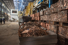 Copper Scrap Prepared For Recycling At The Copper Smelter