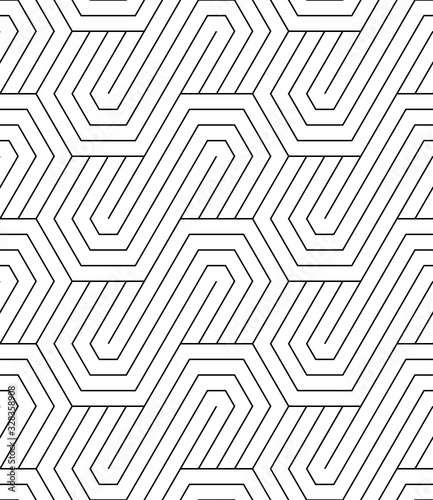 Vector geometric seamless pattern. Modern geometric background with hexagons tiles. - 328358908