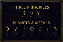 Alchemical Golden Symbols Set On Dark Background. Three Principles Of Alchemy - Sulphur, Salt, Mercury. Planets And Metals Designation. Sacred Geometry. Vector Illustration.