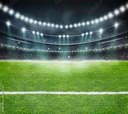 fototapeta na drzwi i meble green field in soccer stadium. ready for game