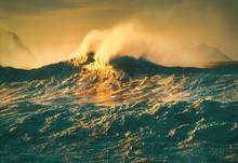 Big Wave Splaying On Windy Day