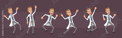 Cartoon cute funny doctor with stethoscope in white uniform. Rock and roll scientist jumping and dancing. Ready for animations. Isolated on violet background. Big vector icon set. - 328362970