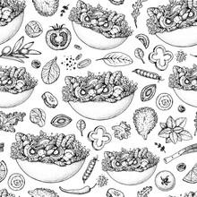 Salad Seamless Pattern. Bowl O...