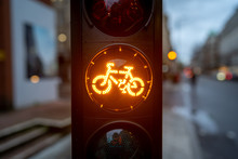 Yellow Cycle Traffic Light In ...