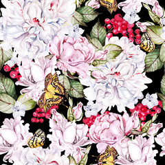 Panel Szklany Peonie Beautiful watercolor seamless pattern with roses and peony, red currant, butterfly.