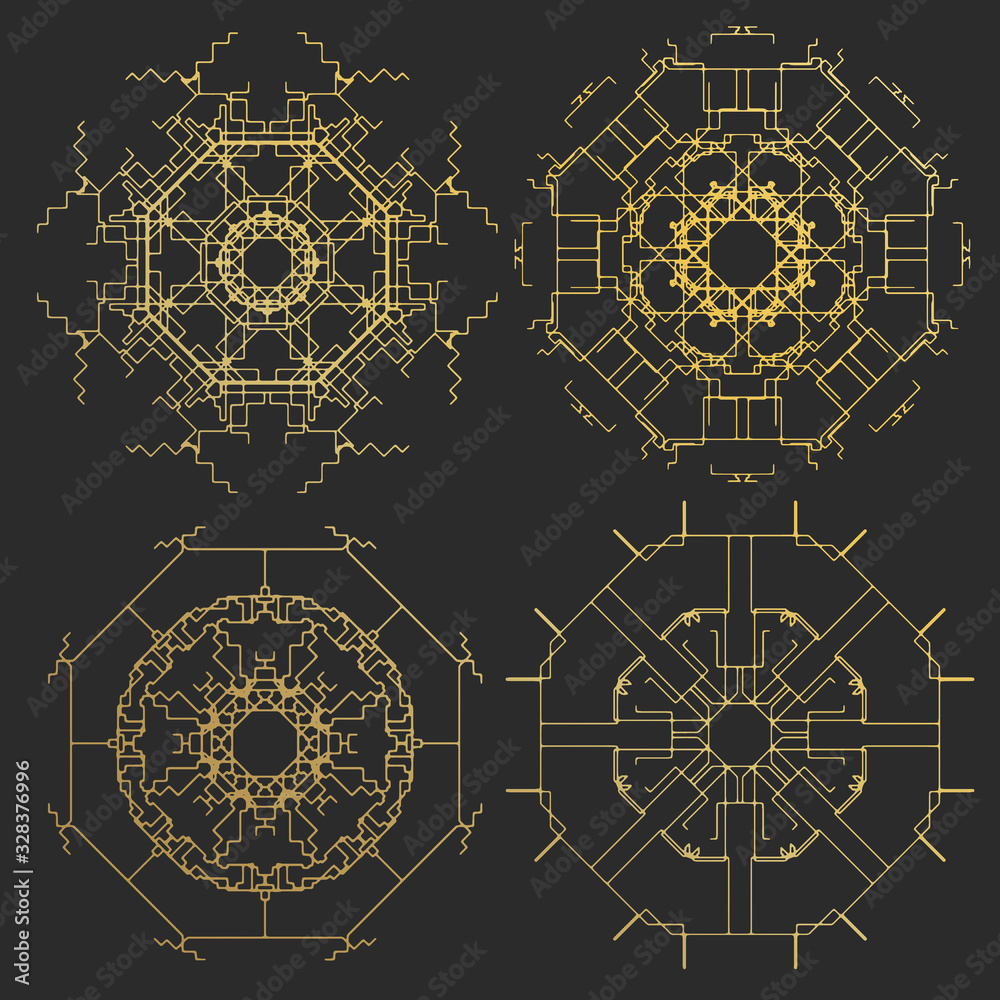 Ornament gold card with mandala. Geometric square element made in . Perfect cards for any other kind of design, birthday and other holiday, kaleidoscope, medallion, yoga, india, arabic