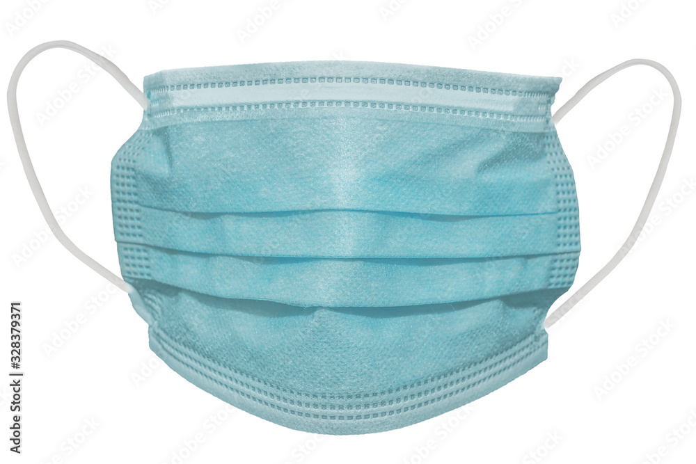 Fototapeta Surgical mask with rubber ear straps. Typical 3-ply surgical mask to cover the mouth and nose. Procedure mask from bacteria. Protection concept.