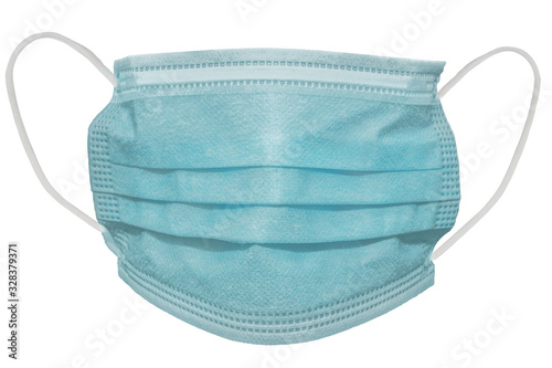 Fototapeta Surgical mask with rubber ear straps. Typical 3-ply surgical mask to cover the mouth and nose. Procedure mask from bacteria. Protection concept. obraz
