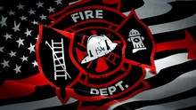Fire Department USA Waving Flag. Rescue Squad 3d USA EMERGENCY Fire Protection SERVICE Flag Waving. Sign Of United States Fire Station Seamless Loop Animation. Emergency Firefighting Flag HD Resolutio