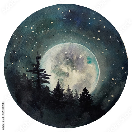 Fototapeta Watercolor Moon at starry night, galaxy with stars, space and astrology universe illustration. obraz