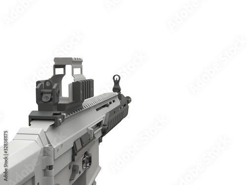 Платно Futuristic military assault rifle - FPS view