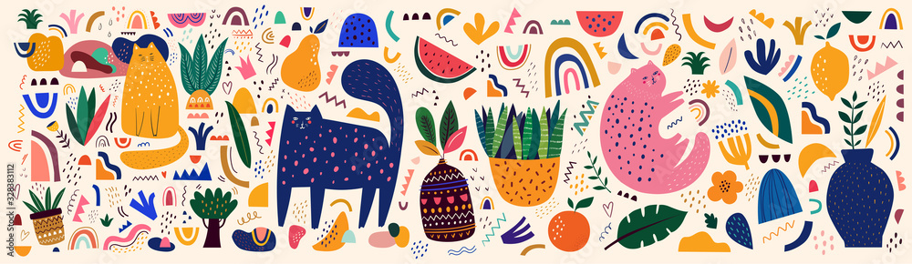 Doodles collection. Decorative abstract horizontal banner with colorful doodles. Hand-drawn modern illustration with cats, flowers, abstract elements