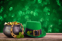 Green St. Patrick Day Background. Holiday Greeting Card. Saint Patrick Day.