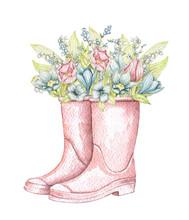 Vintage Pink Gumboots With Vin...