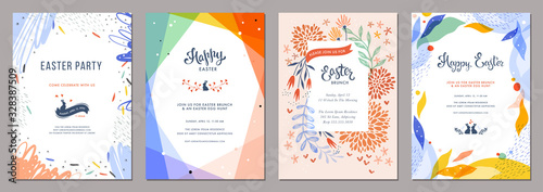 Fototapeta Trendy abstract Easter templates. Good for poster, card, invitation, flyer, cover, banner, placard, brochure and other graphic design.  obraz