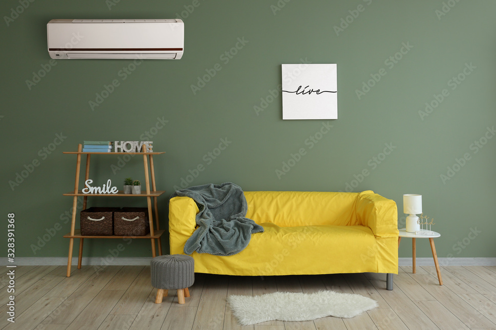Fototapeta Stylish interior of living room with modern air conditioner