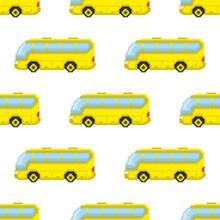 Pixel Yellow Buses Isolated On...