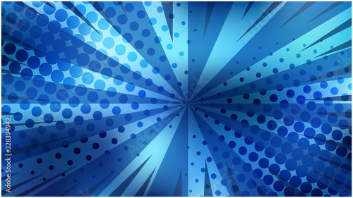 Fototapeta Abstract vibrant blue striped retro comic background with dark dotted halftone corners