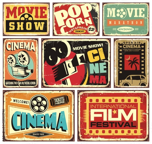Leinwand Poster Vintage cinema signs collection