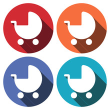 Baby Pram Stroller Sign Icon. Baby Buggy. Baby Carriage Symbol. Circle Buttons With Long Shadow. 4 Icons Set. Vector
