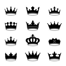 Set Of Black Vector Crowns.