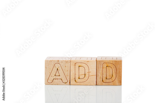 Wooden cubes with letters add on a white background Canvas Print
