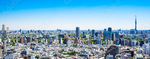 Obraz 東京 青空と都市風景 ワイド - fototapety do salonu