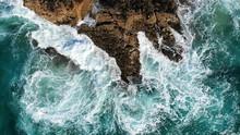 Rough Ocean Waves Crash Agains...