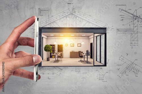 Fototapeta Real estate concept . Mixed media obraz