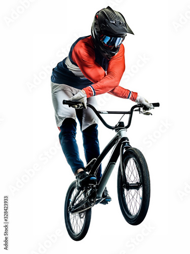 BMX racer man silhouette isolated white background Canvas Print