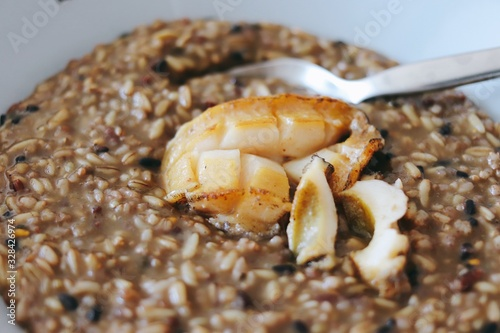 Abalone porridge and abalone baked in butter Canvas Print