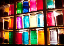 Colorful Jars With Lids At A M...