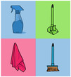 vector illustrator home cleaning tools flat illustration