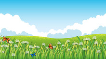 Nature Scene Background With B...