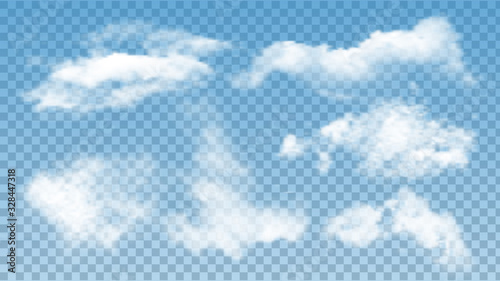 Fluffy Clouds Atmosphere Assortment Set Vector. Collection Of Soft Air Clouds. Morning Good Weather Details, Climatic And Environmental Cumulus. Atmospheric Cirrus Concept Mockup 3d Illustrations