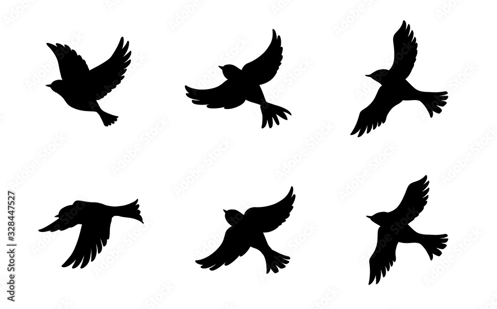 Fototapeta 飛ぶ鳥のシルエットセット